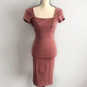 NWT Akira red label mauve bodycon midi dress